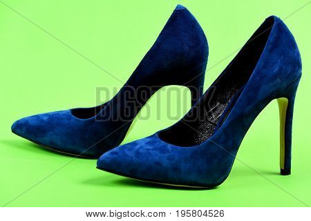 Pair Of Formal Suede Female Shoes, Close Up. Blue Shoes