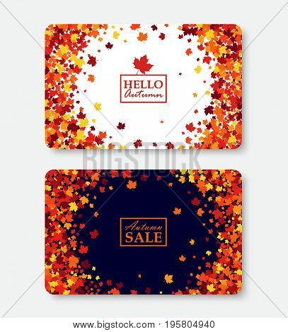 Autumn sale and Hello Autumn gift card layout templates. Shopping certificate vector illustration with scattered maple leaves. All objects isolated