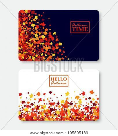 Autumn Time and Hello Autumn gift card layout templates. Shopping certificate vector illustration with scattered maple leaves. All objects isolated