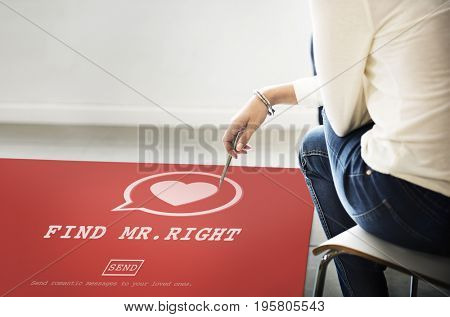 Find Mr Right heart symbol on red paper