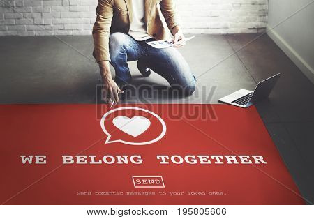 We Belong Together heart symbol on red paper