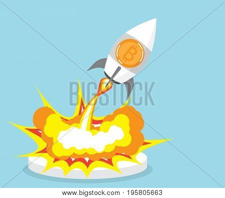 bitcoin rocket launcher cryptocurrency concept vector illustration