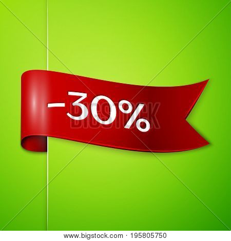 Realistic Red ribbon with text thirty percent for discount on green background. Colorful realistic sticker, banner for sale, shopping, market, business theme. Vector template for your design