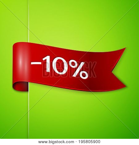 Realistic Red ribbon with text ten percent for discount on green background. Colorful realistic sticker, banner for sale, shopping, market, business theme. Vector template for your design