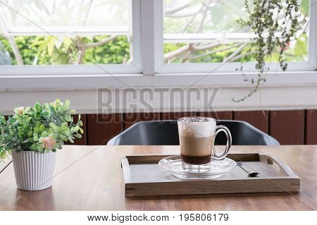 Cup Of Cappuccino Coffee, Hot Mocha Drink With Cinnamon And Cocoa Powder In White Mug