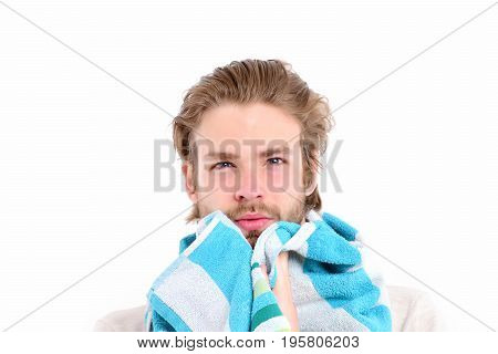 Guy With Striped Blue And White Towel Isolated On White