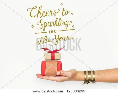 Cheers to sparkling new years word