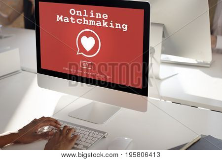 Online matching with heart symbol on red screen