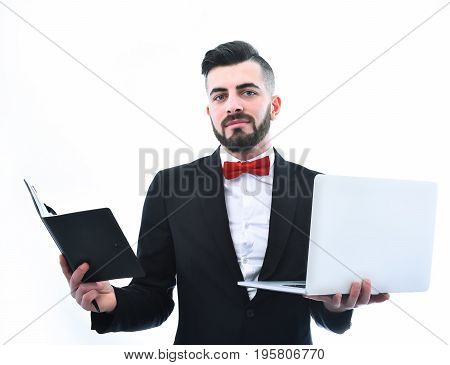 Happy Businessman Or Executive Director With Beard And Organizer