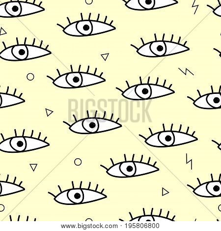 Seamless Pattern With Eyes. Vector Illustration. Memphis Style Wallpaper.