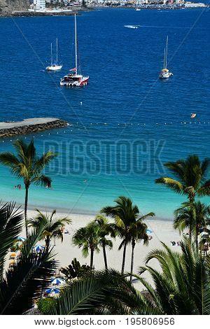 Beautiful Anfi beach in Gran Canaria, Spain