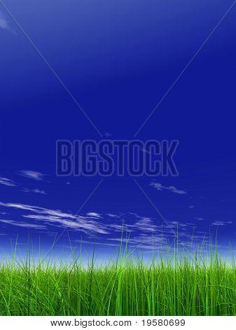 High Resolution 3d Grün gras über ein blauer Himmel mit weißen Wolken als Hintergrund und eine klare Horizont.