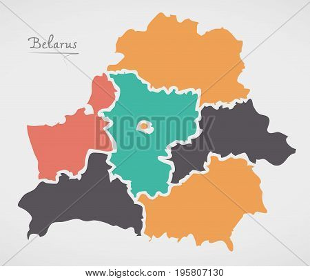 Belarus Map With States And Modern Round Shapes