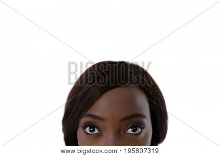 Cropped image of woman with brown hair against white background