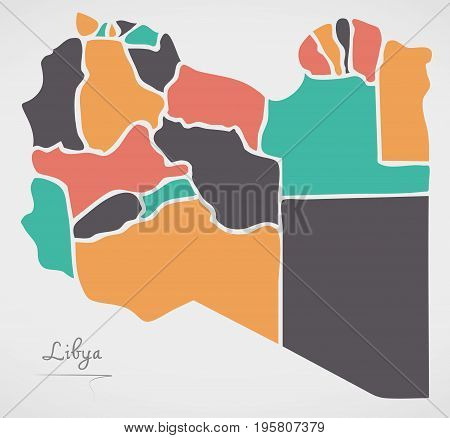 Libya Map With States And Modern Round Shapes