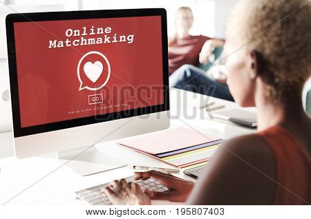 Online matchmaking heart symbol on red screen