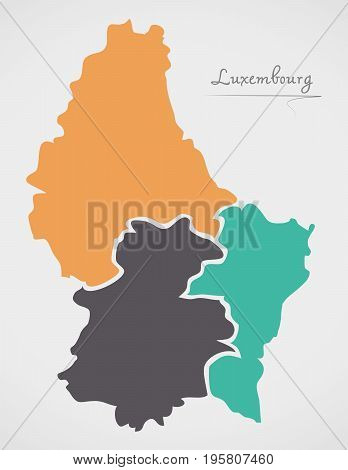 Luxembourg Map With States And Modern Round Shapes
