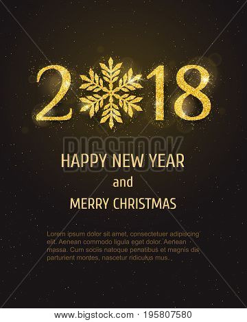 Vector 2018 Happy New Year holiday banner with sparkling glitter golden textured snowflake. Seasonal holidays background. New Year greeting card
