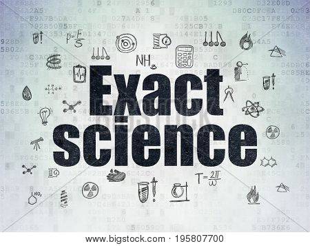 Science concept: Painted black text Exact Science on Digital Data Paper background with  Hand Drawn Science Icons