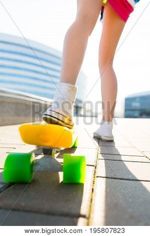 Girl With Penny Skateboard Shortboard.