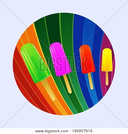 Bright Coloured Ice Lollies Over Multicoloured Striped Border
