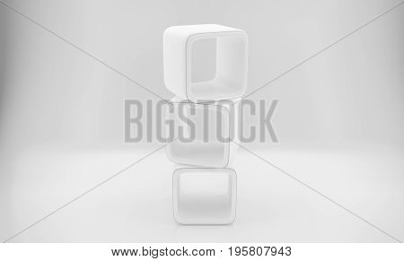 3d Empty white rounded showcase. Mock-up. Template shelves. 3D rendering