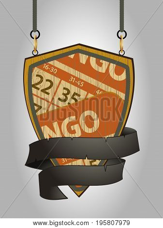 Wooden Shield with Rope Details Banner and Bingo Cards Over Portrait Background