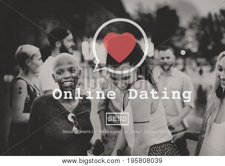 Online Dating heart symbol on diverse people dancing