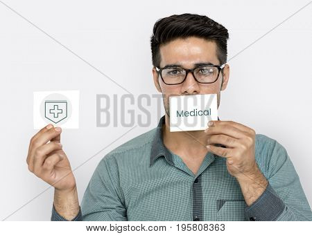 Man holding network graphic overlay banners