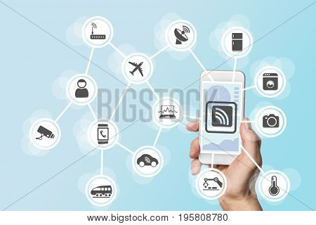Digitization and mobility concept illustrated by hand holding modern smart phone
