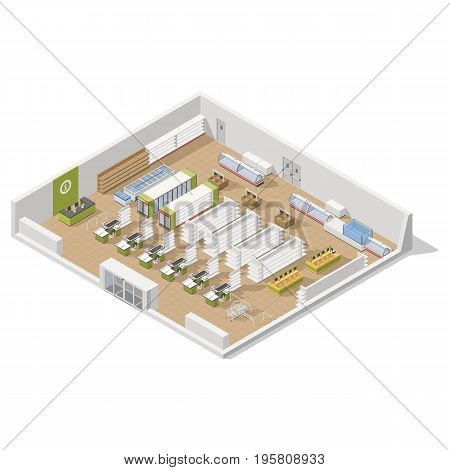 Grocery supermarket in a section inside an isometric icon set vector graphic illustration design