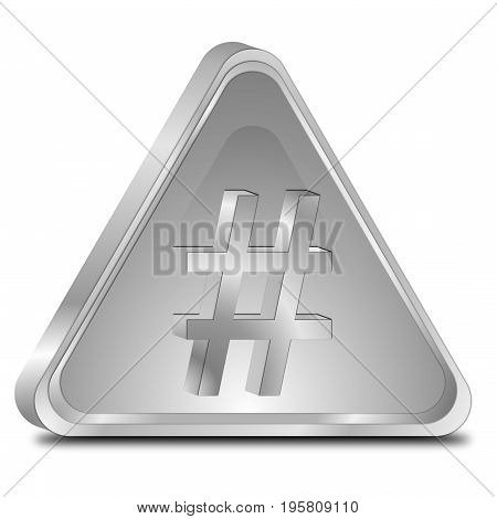 glossy silver Hashtag Button - 3D illustration