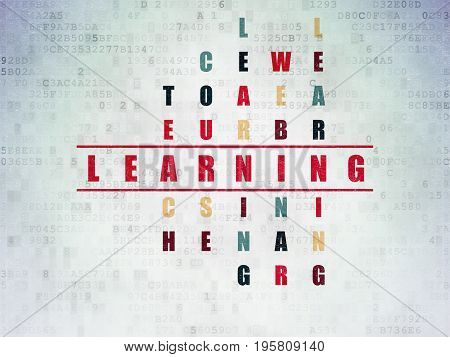 Education concept: Painted red word Learning in solving Crossword Puzzle on Digital Data Paper background