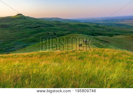 Grass on a of the hill of the foreground and a little down two trees are lit with the sun and hills of the second plan dark are in a shadow. The sky is tightened by a haze.