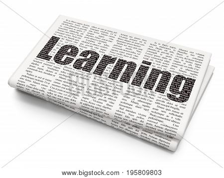 Learning concept: Pixelated black text Learning on Newspaper background, 3D rendering