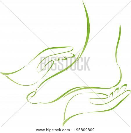 Two hands and feet, foot care and orthopedics logo