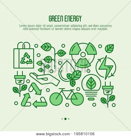 Ecology concept with thin line icons for environmental, recycling, renewable energy, nature. Save Earth concept. Vector illustration.