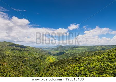 Panoramic view of Black River Gorges National Park Gorges Viewpoint in Mauritius