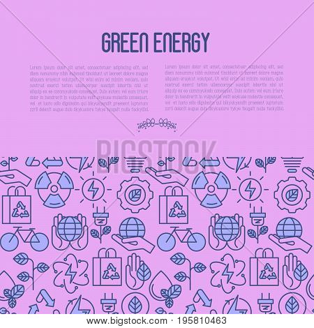 Ecology concept contains seamless pattern with thin line icons for environmental, recycling, renewable energy, nature. Save Earth concept. Vector illustration.
