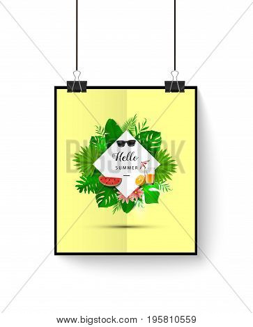 Summer Banner With Tropical Leaves. Vector Illustration. Summer Poster With 3D Hawaiian Leaves, Sung
