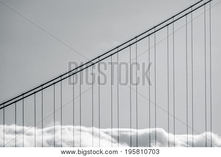 Abstract Detail Of Fog On The Golden Gate Bridge In San Francisco