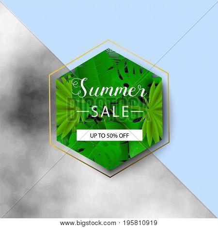 Summer Sale Banner. Tropical Leaves. Vector Illustration. Summer Sale Banner With 3D Hawaiian Leaf O