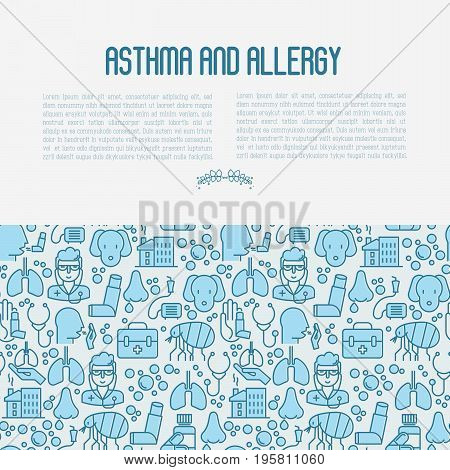 Asthma and allergy concept contains seamless pattern for web page, banner of clinic, thin line icons with allergy symptoms and the most common allergens. Asthma inhaler. Vector illustration.