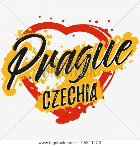 Print with lettering about Prague and red yellow paint splashes in shape of heart on grey background. Pattern for fabric textiles clothing t-shirts. Vector illustration
