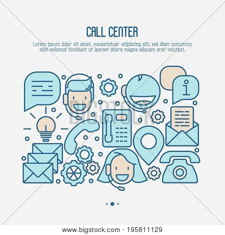 Support service concept with thin line call center or customer service icons. Vector illustration for banner, web page of call center.