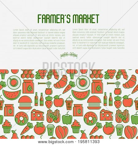 Farmer's market concept with thin line icons: fruits, vegetables, coffee, honey, food. Vector illustration for invitation, banner, announcement.