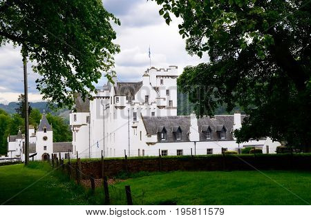 Blair Castle in Scotland on a cloudy day