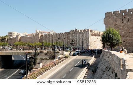 Jerusalem Israel July 14 2016 : Fragment of the fortress walls of the old town and Jaffa Gate in Jerusalem
