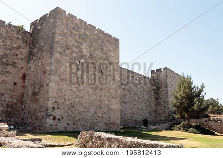 Fragment of the fortress walls of the old tow in Jerusalem
