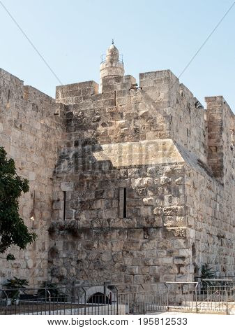 Fragment of the fortress walls of the old town near Jaffa Gate in Jerusalem